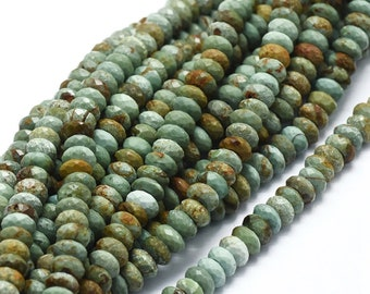 Brazil Turquoise Faceted Rondelle Beads | Grade A | Natural Gemstone Loose Beads | Sold by 7 Inch Strand | Size 6x3mm | Hole 0.8mm