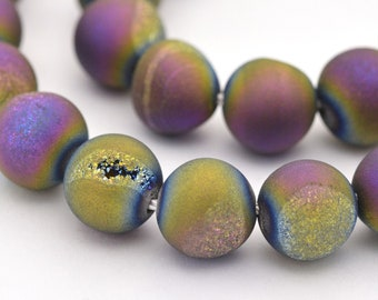 Druzy Agate Beads | Matte Purple Metallic | Round Natural Gemstone Beads | Sold by 15 inch Strand | Size 8mm