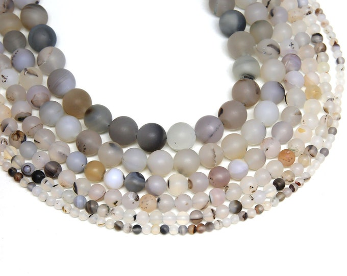 Matte Montana Stripe Agate Beads | Round Natural Gemstone Loose Beads | Sold by Strand | Size 4mm 6mm 8mm 10mm 12mm 14mm