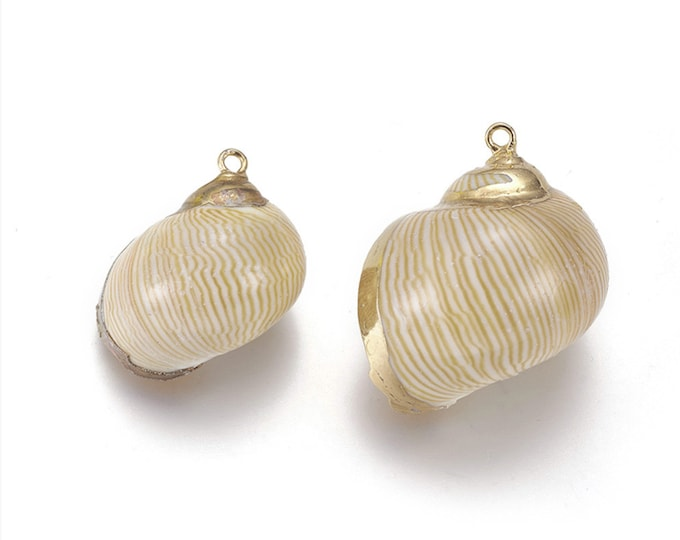 Natural Sea Shell Pendant | 18K Gold Plated Spiral Conch Shell | Sold Individually | Size 27~33x22~27mm