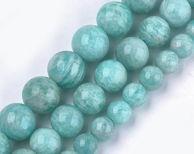 Amazonite Beads | Grade AAA | Round Natural Gemstone Loose Beads | Sold by 7 Inch Strand | Size 6mm 8mm