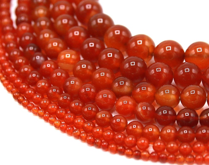 Red Agate Beads | Round Natural Gemstone Loose Beads | Sold by Strand |  4mm 6mm 8mm 10mm 12mm 14mm 16mm