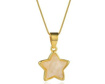 Faceted Moonstone Star Pendant Necklace   18K Gold Plated Brass Chain   Lobster Clasp   Chain Length 18 Inch   Pendant Size 12mm