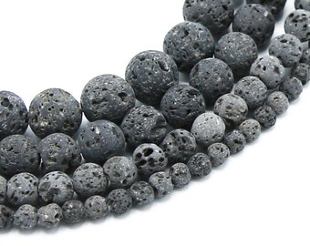 Natural Lava Beads Unwaxed | Gray Volcanic Rock Beads | Round Gemstone Mala Uncoated Beads | Sold by Strand | 4mm 6mm 8mm 10mm 12mm
