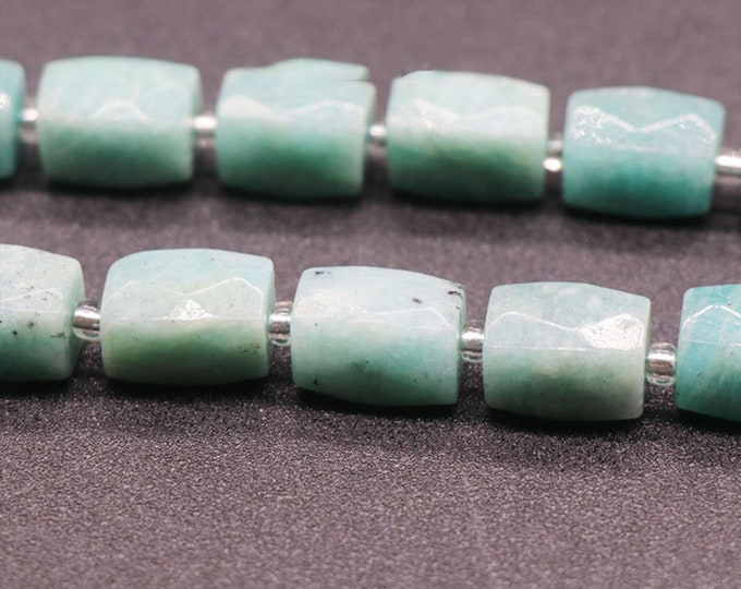 Natural Amazonite Beads   Grade A   Faceted Barrel Accent Gemstone Loose Beads   Sold by 4 Inch Strand   Size 15~17mm   Hole 0.8-1mm