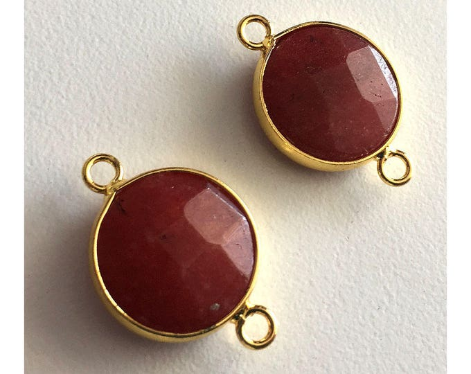 2 Pieces Gold Plated Natural Red Druzy Quartz Crystal Faceted Agate Bezel Connector 22x16mm
