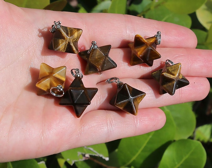 Tiger Eye Beads | Merkaba Pendant | 3D Star | Charka Healing Polygonal Focal | Natural Gemstone Pendant | Sold by Piece | Size 13x20mm
