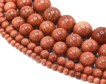 Goldstone Beads | Sandstone Beads | Round Synthetic Gemstone Loose Beads | Sold by Strand | 4mm 6mm 8mm 10mm 12mm 14mm