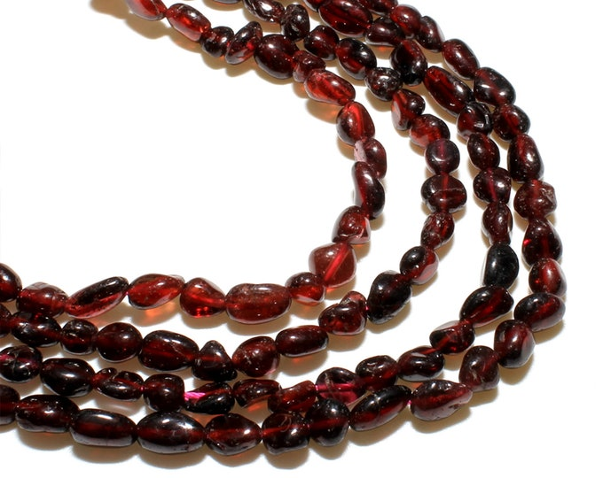 Garnet Nuggets Beads | Grade A | Natural Gemstone Loose Beads | Sold by 15 inch Strand | Size 6-8mm | Hole 0.8mm