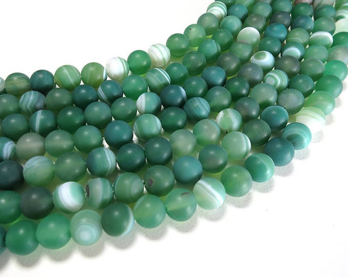 Stripe Agate Beads | Matte Green | Round Natural Gemstone Beads | Sold by 15 Inch Strand | Size 4mm 6mm 8mm 10mm