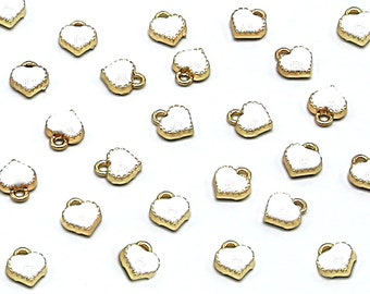 10 Pcs White Heart Gold Color Zinc Alloy Enamel Pendant Charm DIY ENAM-Q033-51B