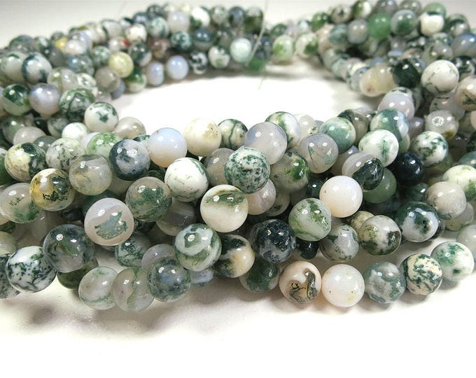 Dendritic Agate Beads | Tree Agate Beads | Round Natural Gemstone Loose Beads | Sold by Strand |  6mm 8mm