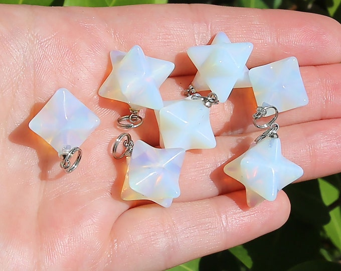 Sea Opal Beads | Merkaba Pendant | 3D Star | Charka Healing Polygonal Focal | Synthetic Gemstone Pendant | Sold by Piece | Size 13x20mm