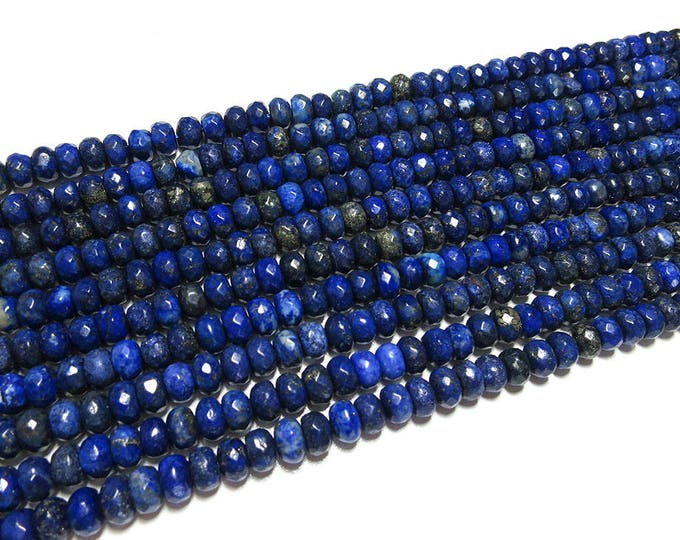 Lapis Lazuli Rondelle Beads | Grade A | Faceted Natural Gemstone Loose Beads | Sold by Strand | Size 5x8mm