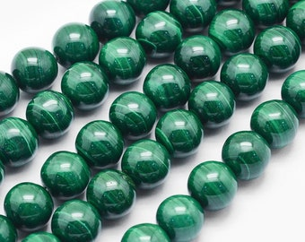 Green Malachite Beads | Round Natural Gemstone Beads | Sold by 7 Inch Strand | Size 6mm 8mm 10mm