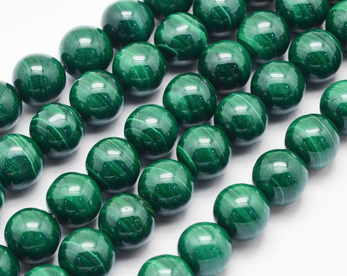 Green Malachite Beads | Round Natural Gemstone Beads | Sold by 7 Inch Strand | Size 8mm