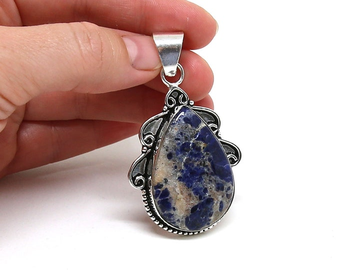 Natural Sodalite Gemstone .925 Solid Sterling Silver Vintage Style Pendant Focal Bead Size 2.25 inch