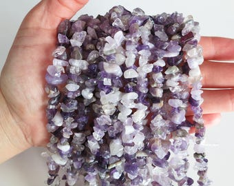 """Purple Amethyst Chips Nuggets Natural Gemstone Jewelry Beads Full Strand 33"""""""
