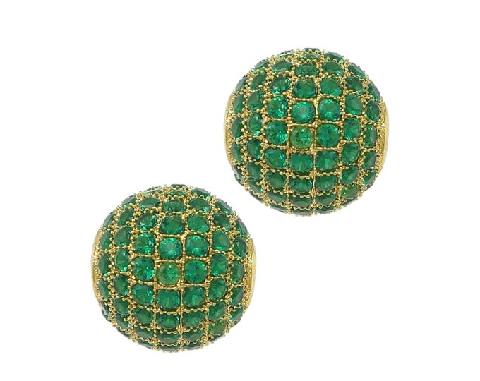Cubic Zirconia Micro Pave Brass Round Bead   18K Gold Plated Green CZ   Size 12 mm   Hole 2mm