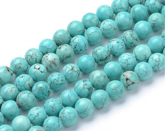 Blue Turquoise Beads | Round Natural Gemstone Loose Beads | Sold by 15 Inch Strand | Size 4mm 6mm 8mm 10mm 12mm