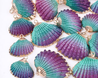 Natural Sea Shell Pendant | Purple Green | 18K Gold Dipped Edge | Sold Individually | Size 19~28x20~30x7~11mm