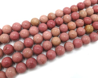 Rhodochrosite Beads | Grade A | Round Natural Gemstone Loose Beads | Sold by Strand | Size 4mm 6mm 8mm 10mm