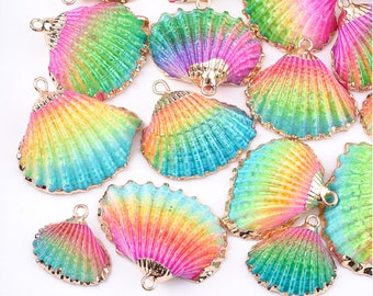 Natural Sea Shell Pendant | Rainbow Color | 18K Gold Dipped Edge | Sold Individually | Size 19~28x20~30x7~11mm