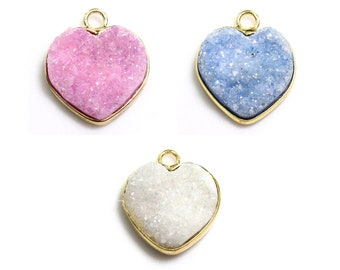Agate Druzy Pendant   Heart   Gold Plated Brass Frame   Sold by Piece   Pick a color   Size 14x13x5mm