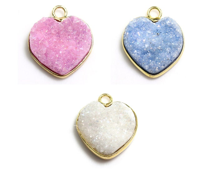 Agate Druzy Pendant | Heart | Gold Plated Brass Frame | Sold by Piece | Pick a color | Size 14x13x5mm