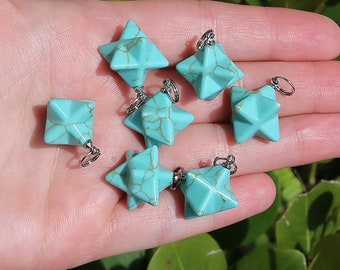 Turquoise Beads | Merkaba Pendant | 3D Star | Charka Healing Polygonal Focal | Synthetic Gemstone Pendant | Sold by Piece | Size 13x20mm