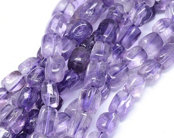 Amethyst Nuggets Beads | Grade A | Natural Gemstone Loose Beads | Sold by Strand | Size 8~11x7~8mm | Hole 1mm
