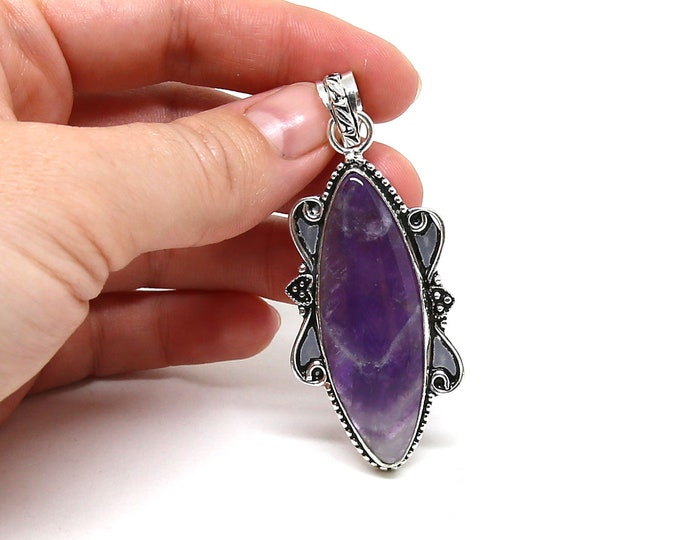 Natural African Amethyst Vintage Style .925 Solid Sterling Silver Pendant