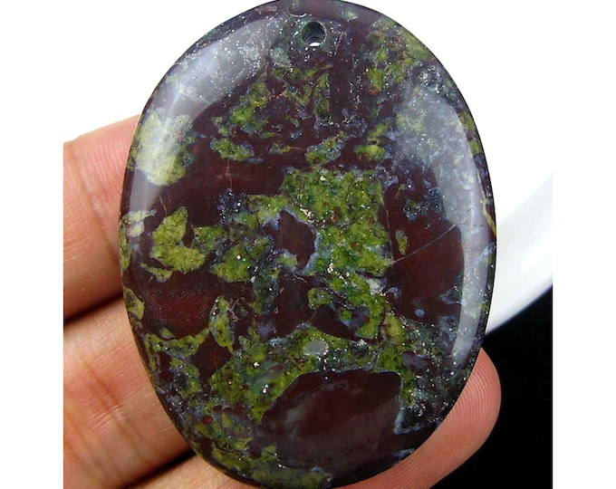 Natural Dragon Blood Oval Gemstone Pendant Focal Bead 49x37x7mm D23121