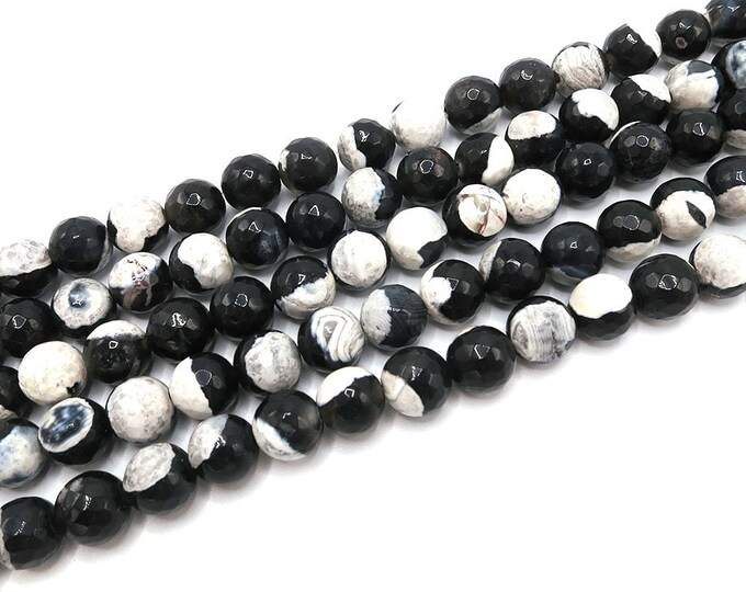 Fire Agate Beads | Black White | Faceted Round Natural Gemstone Loose Beads | Sold by Strand | 6mm 8mm 10mm 12mm