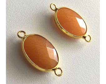 2 Pieces Gold Plated Natural Orange Druzy Quartz Crystal Faceted Agate Bezel Connector 27x15mm