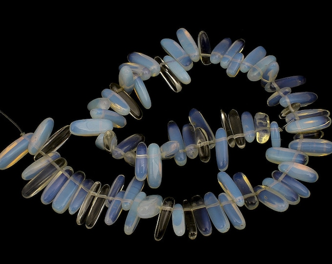"""White Sea Opal Chips Nuggets Natural Gemstone Jewelry Beads Full Strand 15.5"""""""