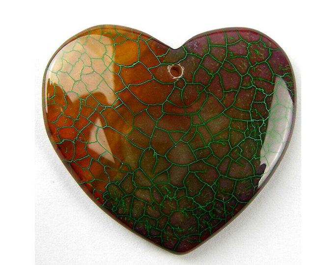 Brown Green Fire Agate Heart Gemstone Pendant Focal Bead 40x37x6mm V32094