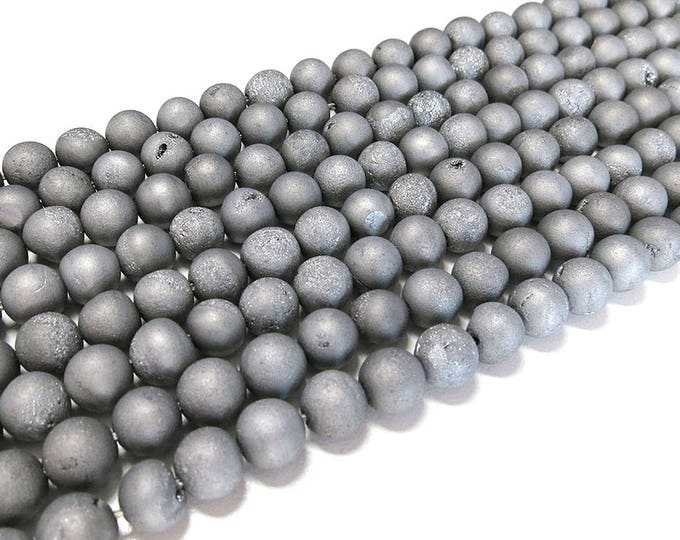 """8mm Matte Silver Metallic Druzy Ice Quartz Agate Beads Frosted Round Polished Natural Gemstone Plated Loose 15.5"""" Full Strand Wholesale"""