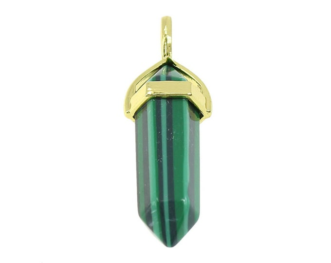 Malachite Double Terminated Gold Plated Bail Pencil Point Chakra Pendant Bead Synthetic