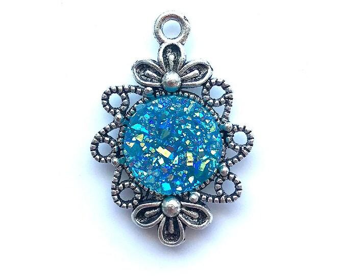 2 Pieces Antique Silver Plated Blue AB Faux Druzy Agate Bezel Charm Flower Pendant