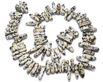 Dalmatian Jasper Nuggets | Natural Gemstone Loose Beads | Sold by Strand | Size 5x13x4mm-8x30x8mm | Hole 1mm