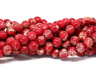 "Red Impression Jasper Beads 6mm 8mm 10mm Imperial Sea Sediment Round Polished Natural Dyed Gemstone Loose 15.5"" Full Strand Wholesale"
