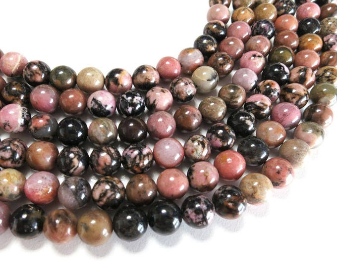 Rhodonite Beads | Grade A | Natural Round Gemstone Loose Beads | Sold by Strand | Size 4mm 6mm 8mm 10mm