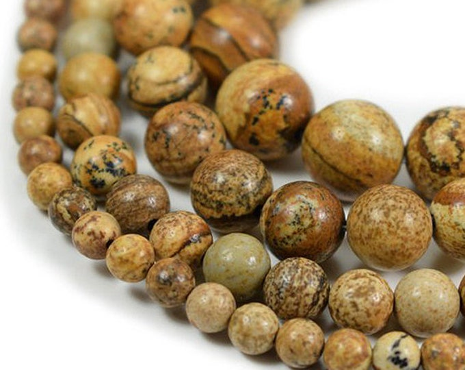 Picture Jasper Beads | Round Natural Gemstone Polished Loose Beads | Size 4mm 6mm 8mm 10mm 12mm