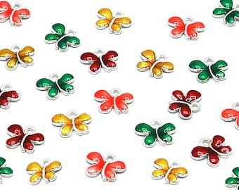 10 Pcs Butterfly Silver Color Zinc Alloy Enamel Pendant Charm DIY ENAM-FH338-M