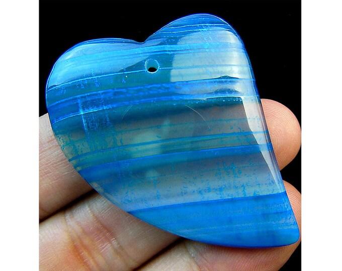 Blue Stripes Agate Heart Gemstone Pendant Focal Bead 44x36x6mm V09792