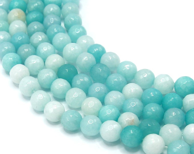 Amazonite Beads | Faceted Round Natural Gemstone Loose Beads | Sold by Strand | 8mm