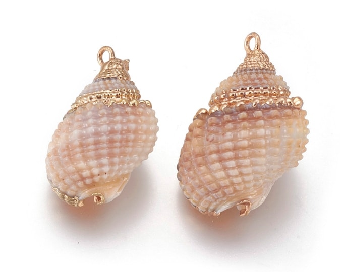 Natural Sea Shell Pendant | 18K Gold Plated Spiral Conch Shell | Sold Individually | Size 24~28x16~19mm