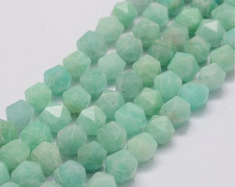 Amazonite Beads | Grade AAA | Star Cut Faceted Round Natural Gemstone Loose Beads | Sold by 7 Inch Strand | Size 8x7~7.5x7~7.5mm