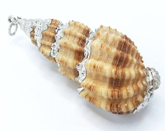 1 Piece Silver Plated Natural Sea Shell Trumpet Conch Pendant Bead 36x16x14mm